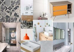 Planche d'ambiance Salle de bain, style industriel pour un appartement en location saisonnière Rb&b