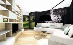 Aménagement salon contemporain meubl canapé et papier peint sur-mesure