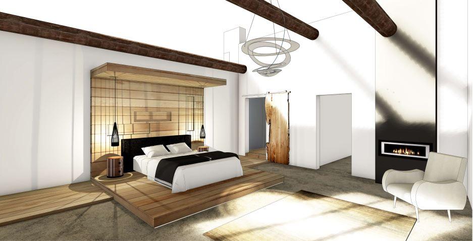 Vue 3D d'une chambre contemporaine épurée avec estrade en bois