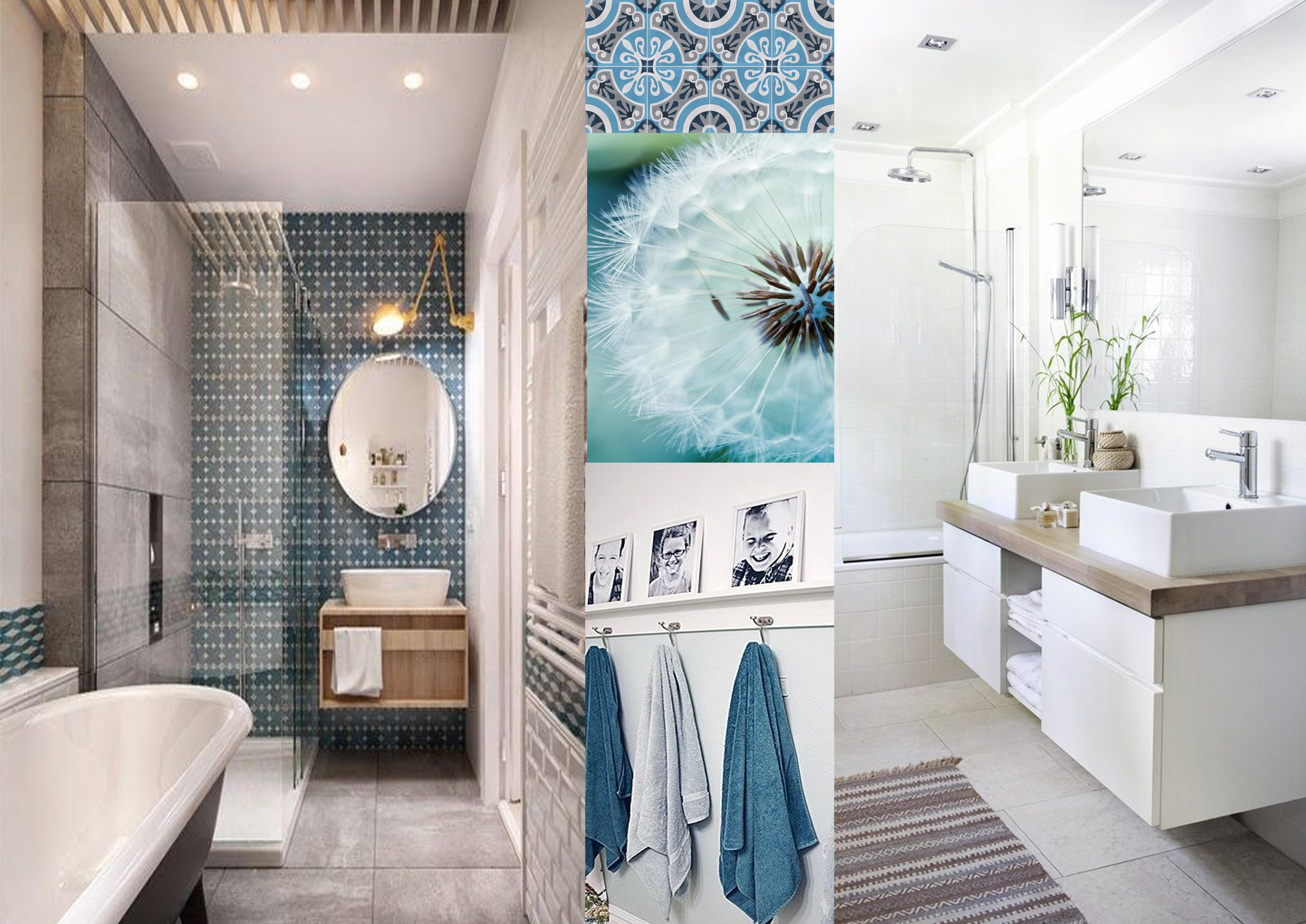 Ambiance salle de bain nature bleue