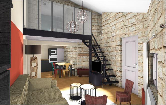 Aménagement d'une location saisonnière Rb&B style industriel avec mezzanine fermée par une verrière