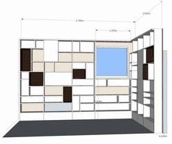 Esquisse 3D Création d'une bibliothèque agencement sur mesure