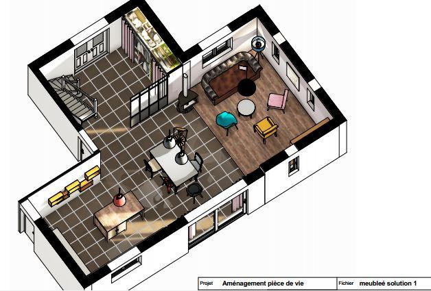 projet 3D aménagement pièce de vie