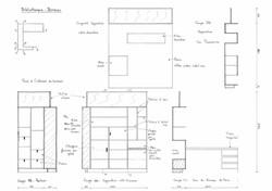 Croquis esquisse Création d'un meuble bureau dressing agencement sur mesure