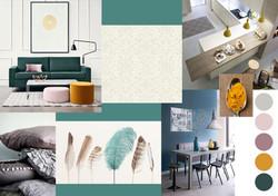 Planche d'Ambiance pièce de vie contemporaine  bleue jaune  cuisine salon salle à manger