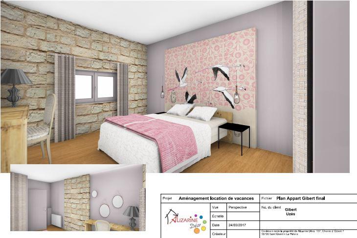 Aménagement chambre Flamant Rose, location saisonnière Rb&B Papier peint sur mesure