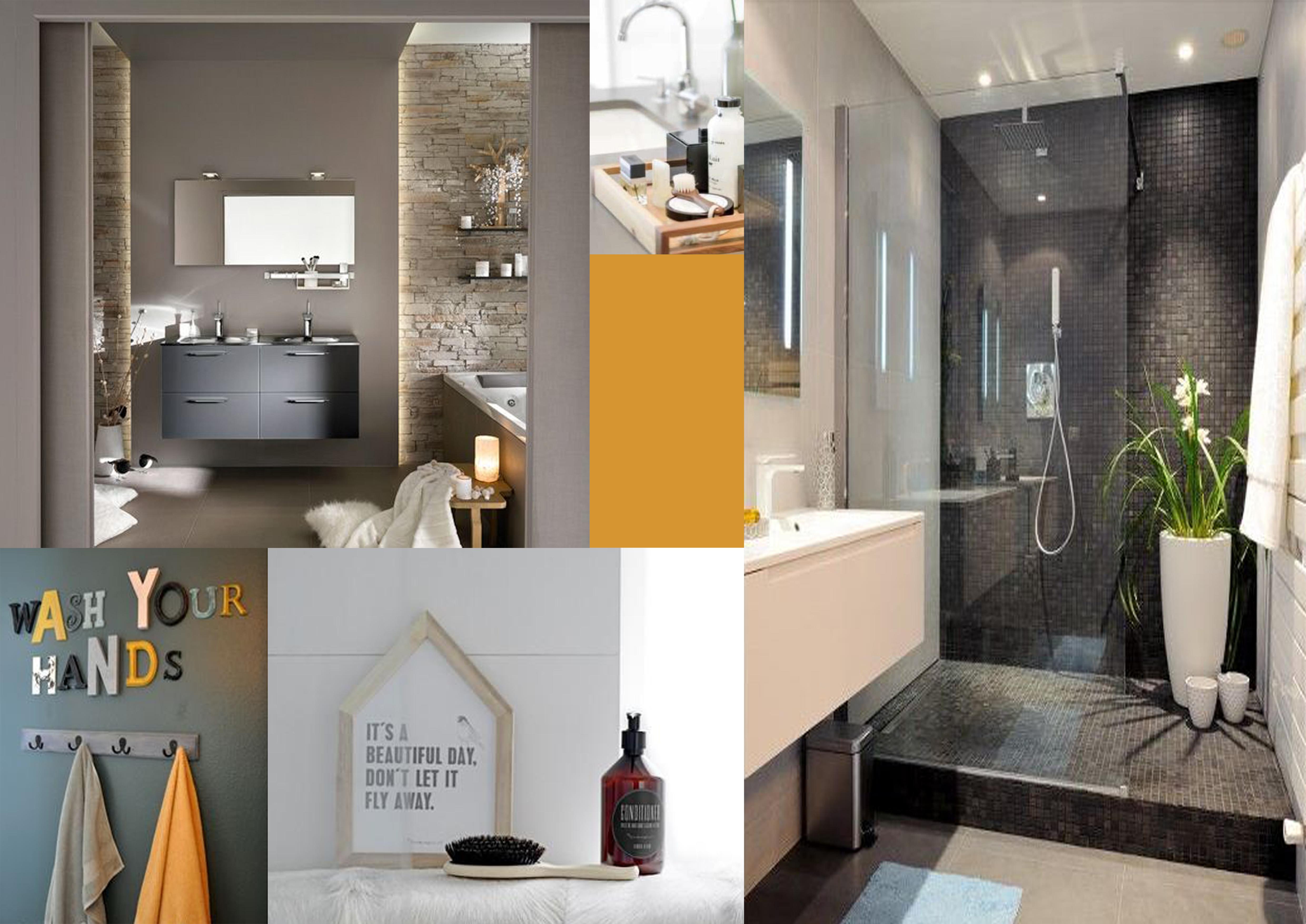 Ambiance salle de bain gris et jaube industrielle