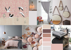planche d'ambiance Chambre flamant Rose