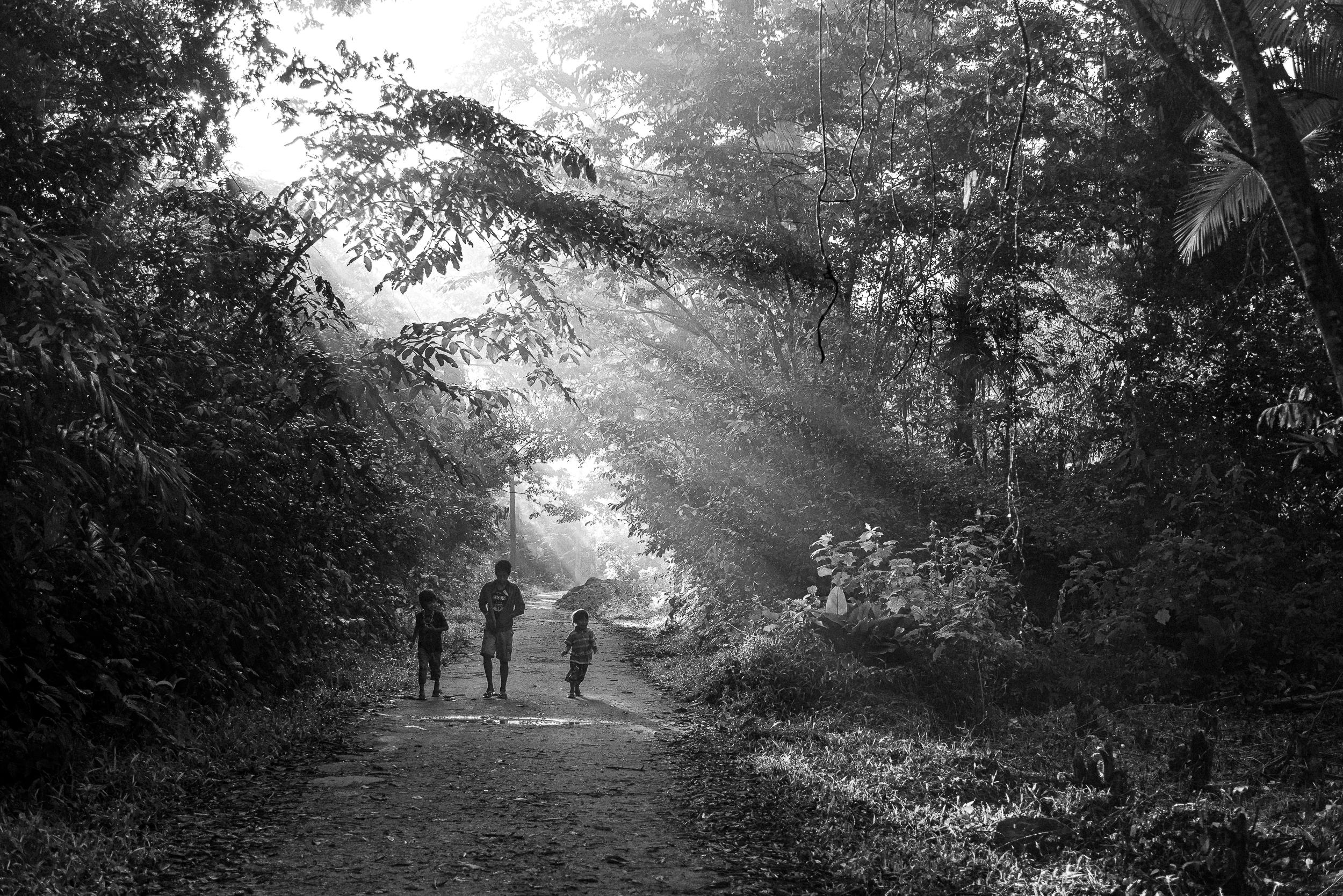 Crianças guarani ao amanhecer