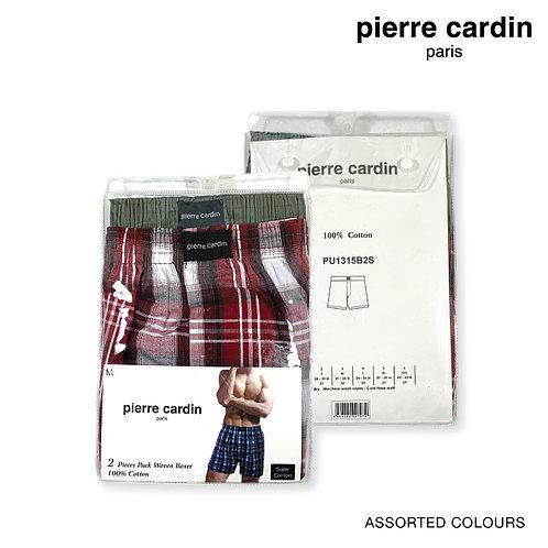 Pierre Cardin 2 Pieces Pack 100% Cotton Men Woven Boxers
