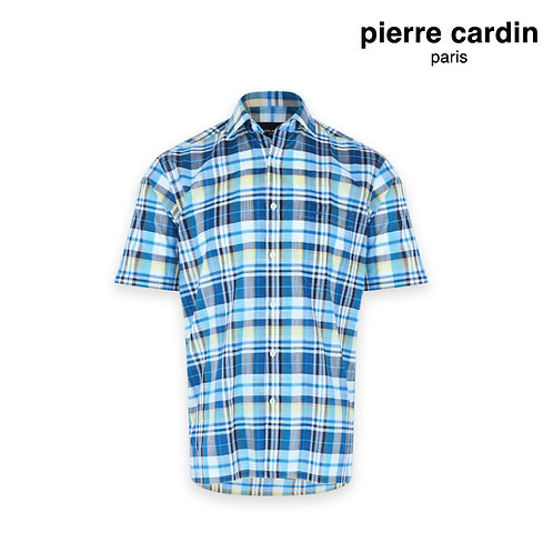 PIERRE CARDIN Short Sleeve 100% Cotton Checked Shirt