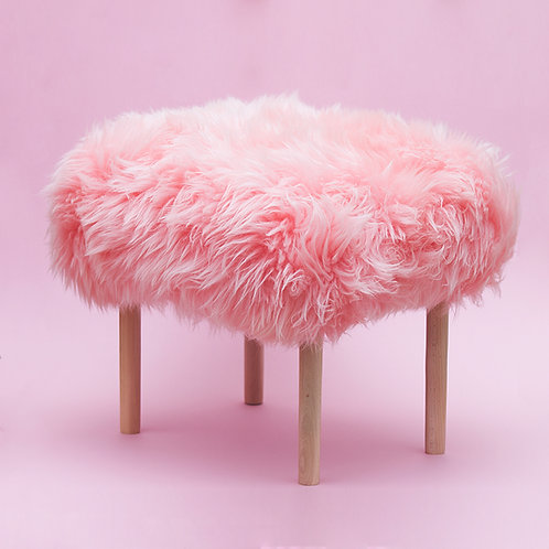 Schaffell-Hocker / Baby Pink / Medium