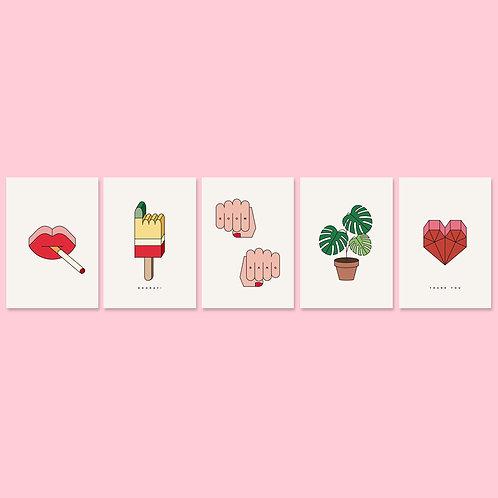 Postkarten-Mix / Fünf Motive / DIN A6