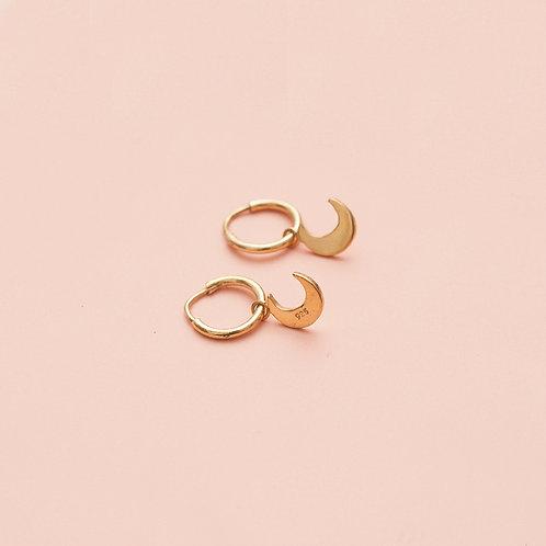 Minihoops / Moon / Vergoldet / Medium