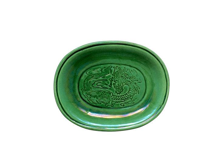 珉平焼小判形皿(緑・中)