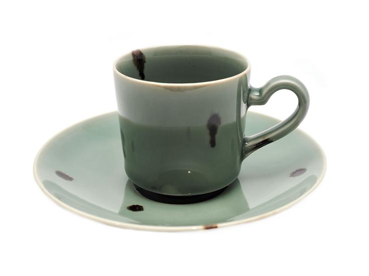 加藤幸治 飛青磁コーヒー碗皿