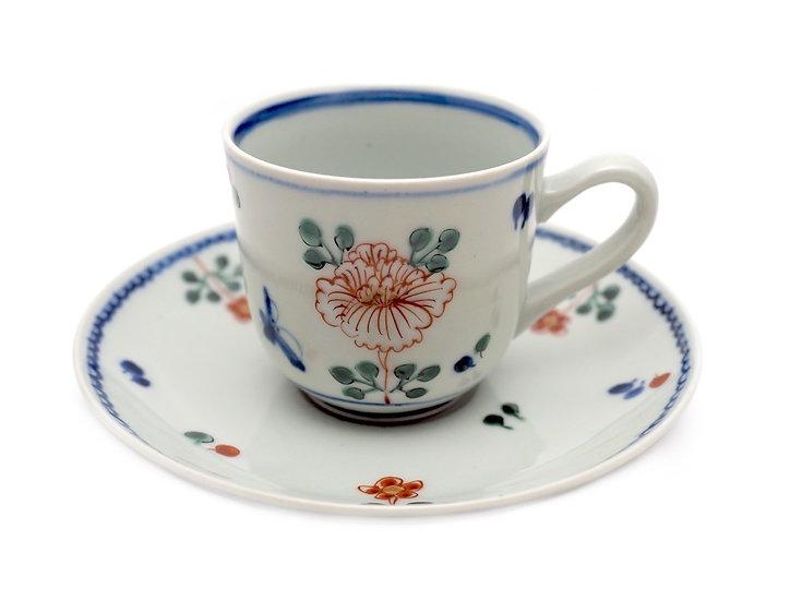 加藤幸治 色絵牡丹文コーヒー碗皿
