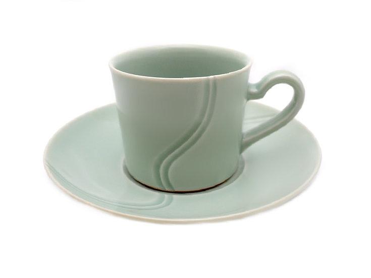加藤幸治 青白磁鎬コーヒー碗皿