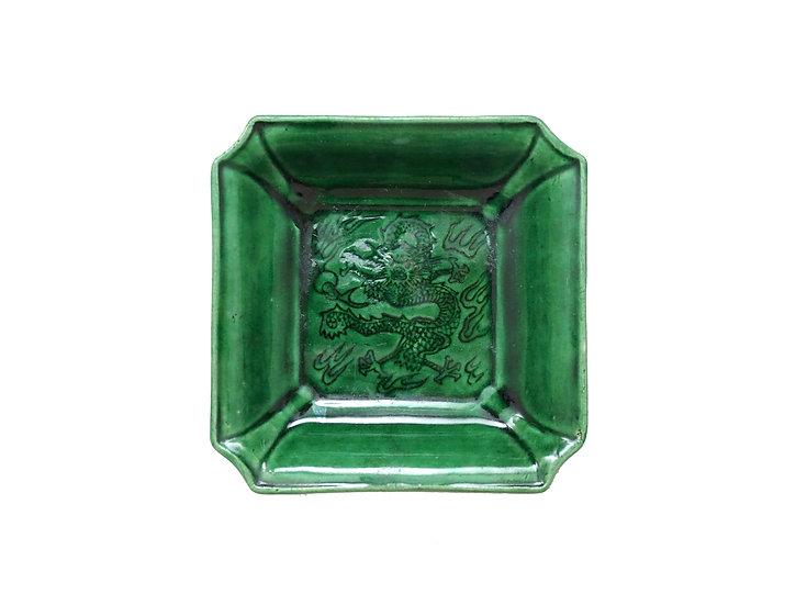 珉平焼隅切皿(緑・大)