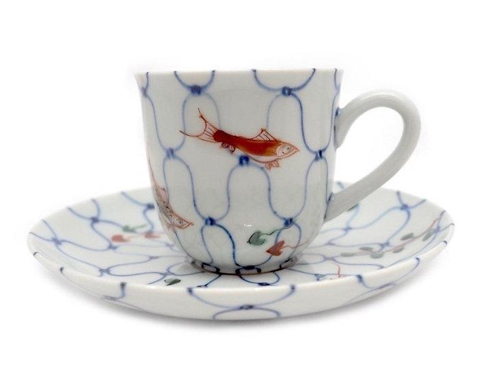 加藤幸治 色絵網に魚文コーヒー碗皿