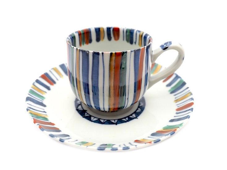 加藤幸治 色絵麦藁手コーヒー碗皿