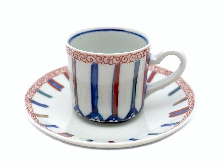 加藤幸治 色絵麦藁に鳥文コーヒー碗皿