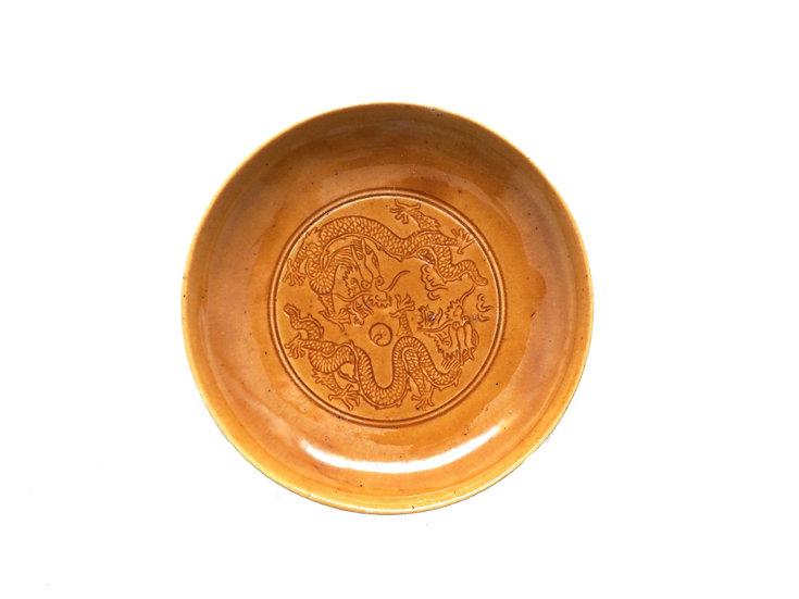 珉平焼丸皿 (黄・中)