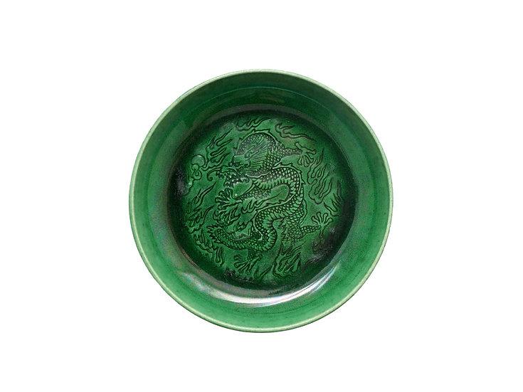 珉平焼丸形皿(緑・中)