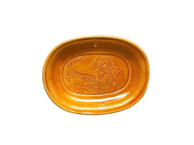 珉平焼小判形皿(黄・小)