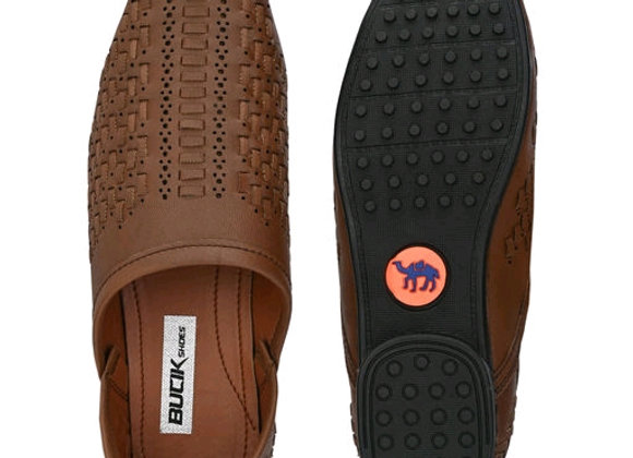 Bucik Men's brown synthetic leather slip on causal loafer