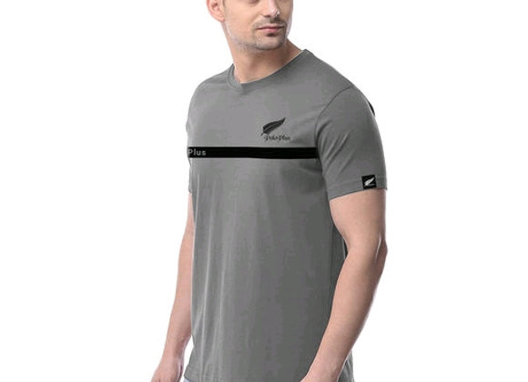 Polo plus men grey text printed shirt