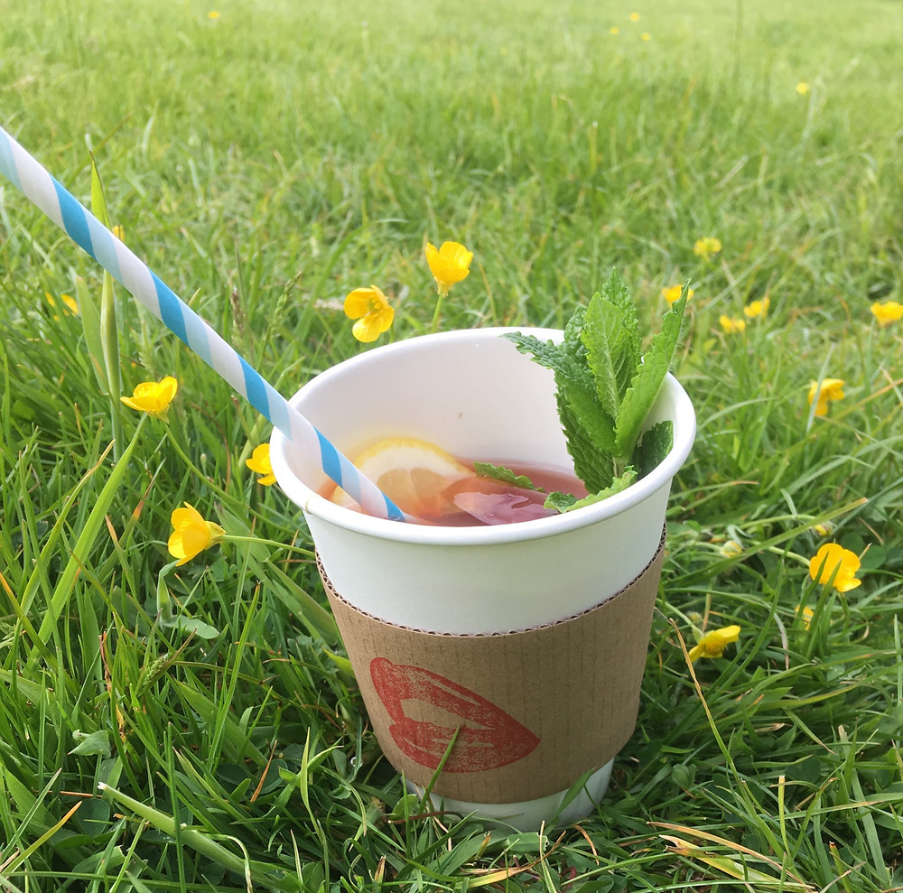 Iced tea in a field of grass