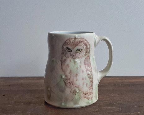 katy drijber saw whet owl mug