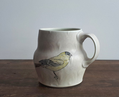 katy drijber goldfinch mug