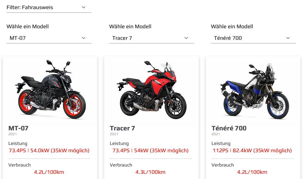 Printscreen Motorradvergleich
