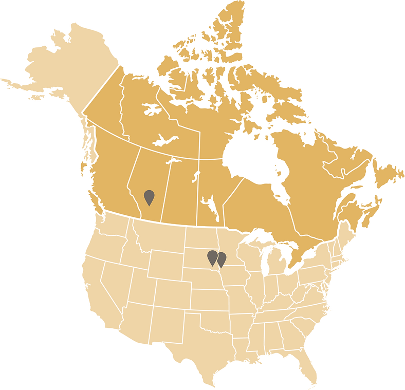 Sunterra Farms offices on map of North America