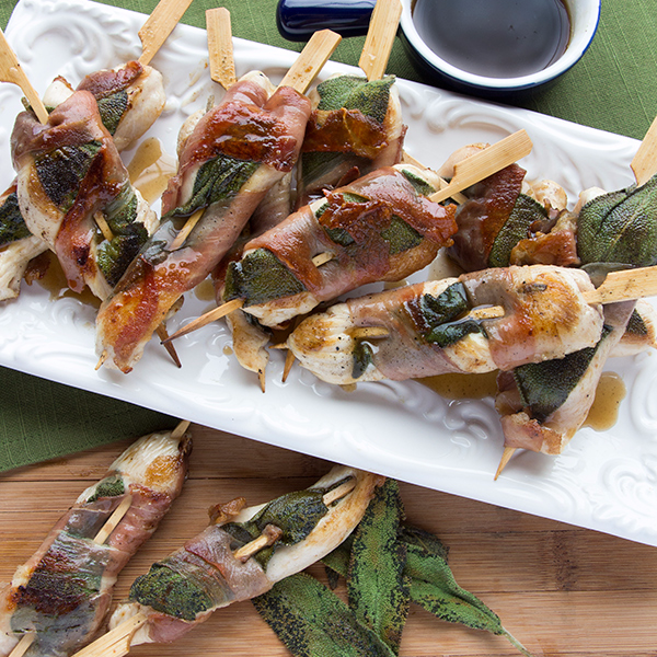 Prosciutto Wrapped Chicken Skewers