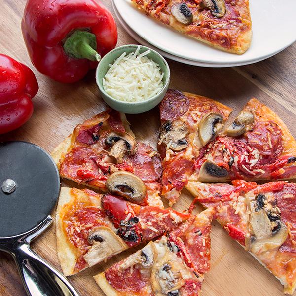 Calabrese Piccante & Mushroom Pizza