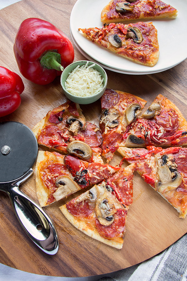 Calabrese Piccante and Mushroom Pizza