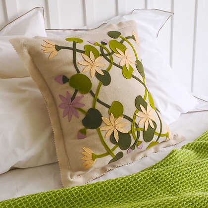 Water Lilly Wool Applique & Embroidery Cushion Kit