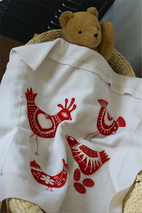 RED BIRDIE BABY BLANKET KIT