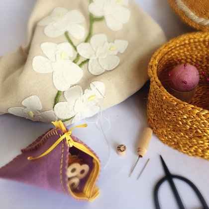YELLOW SEWING BASKET & PINK ACCESSORIES