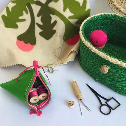 EMERALD GREEN SEWING BASKET &  PINK ACCESSORIES