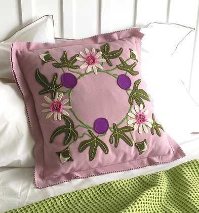 Passionflower Wool Applique Embroidery Cushion Kit