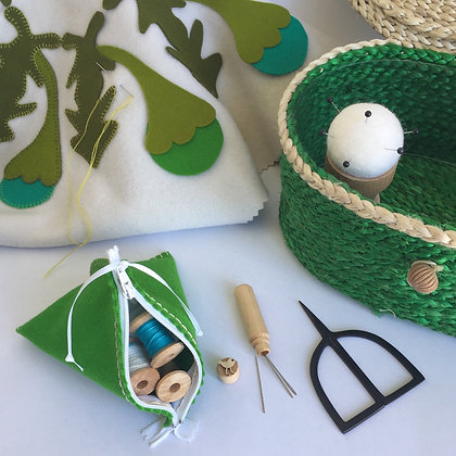 EMERALD SEWING BASKET &  WHITE ACCESSORIES