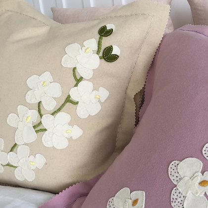 White Orchid Wool Applique Cushion Kit