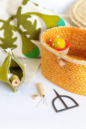 YELLOW SEWING BASKET & GREEN ACCESSORIES