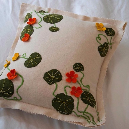 Nasturtium Cushion Wool Applique & Embroidery Kit