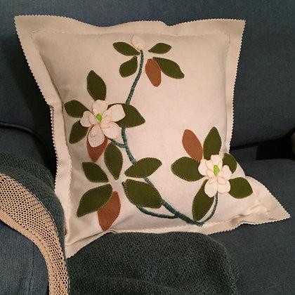 Magnolia Wool Applique & Embroidery Cushion Kit