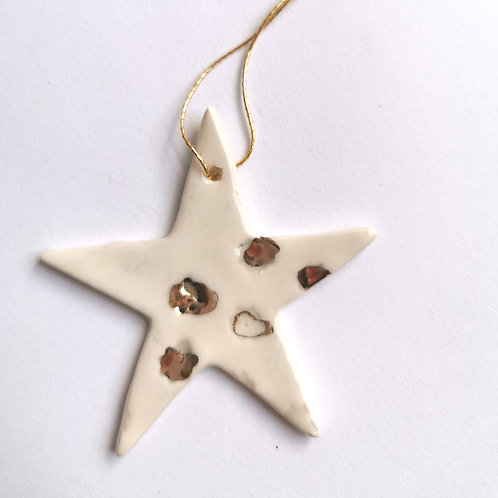Porcelain Star Decoration - Assorted